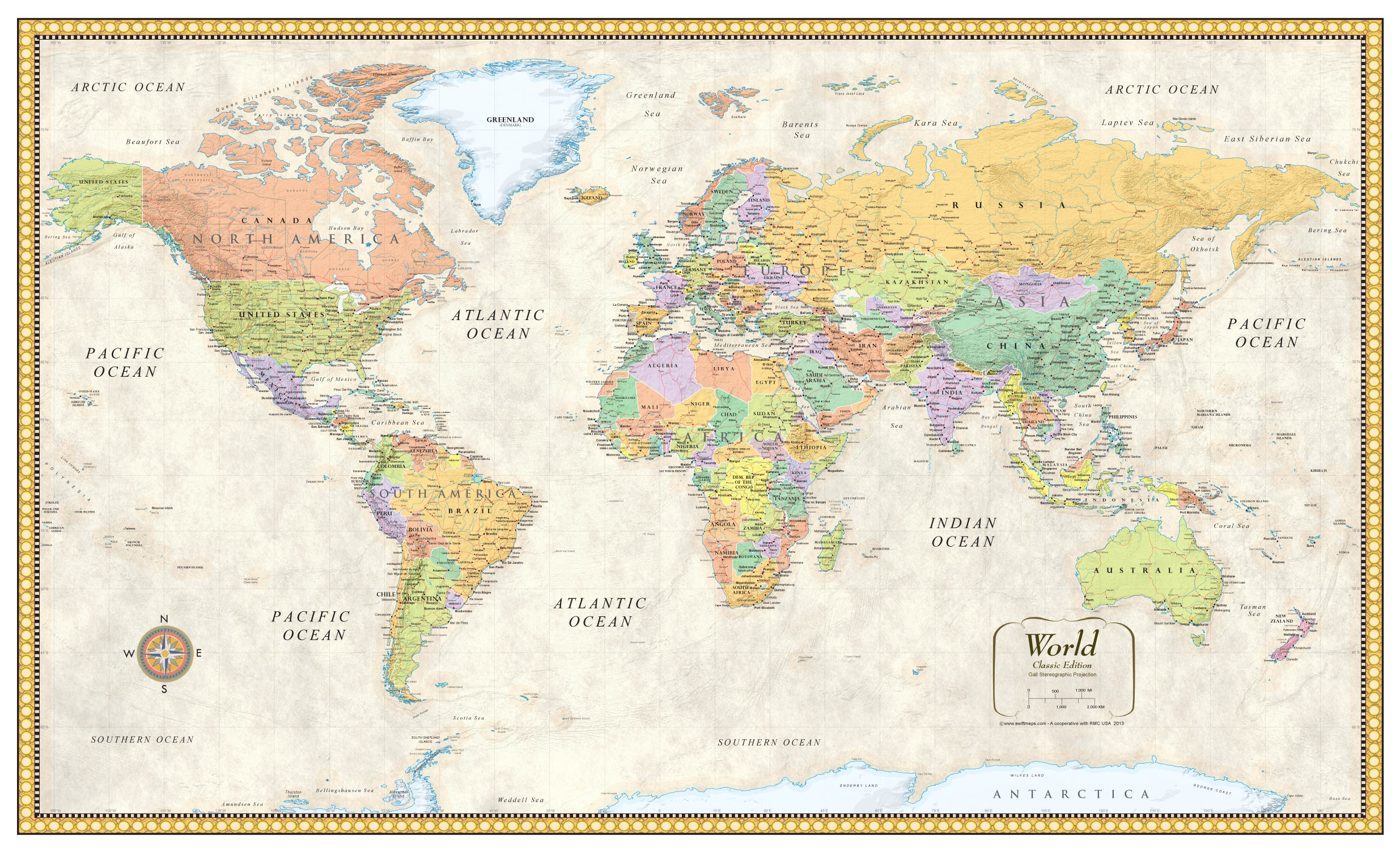 contemporary premier large world wall map poster