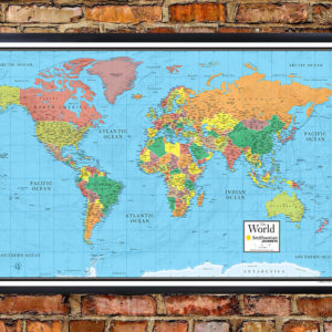 Smithsonian Journeys World Wall Map Blue Ocean Special Edition