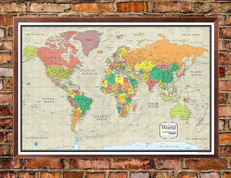 Smithsonian journeys world wall map tan ocean special edition gumiabroncs Images