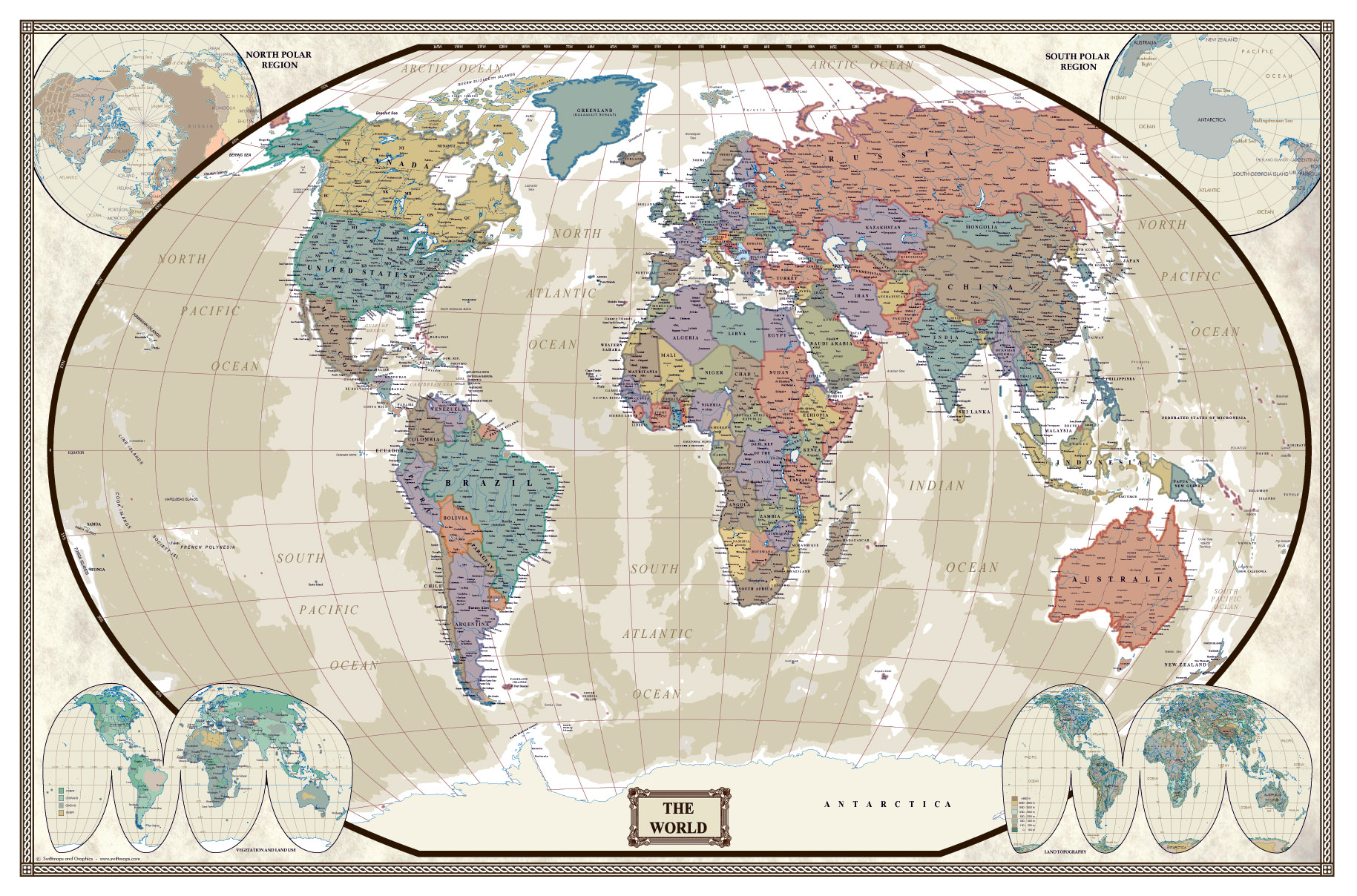 Swiftmaps World Modern Day Antique Wall Map Poster - Us map poster 24x36