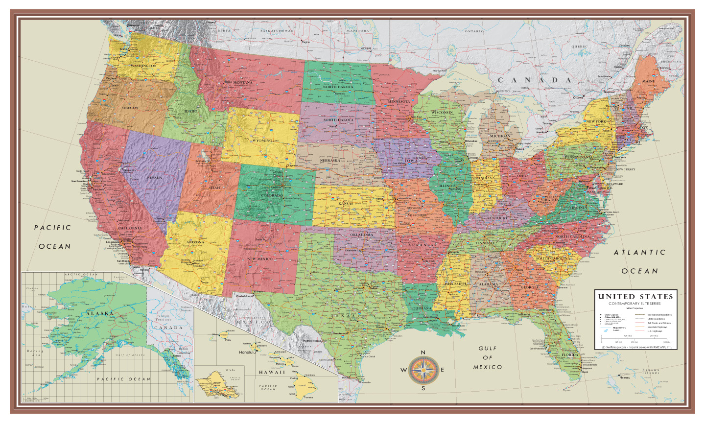 Contemporary Elite United States Wall Map Poster