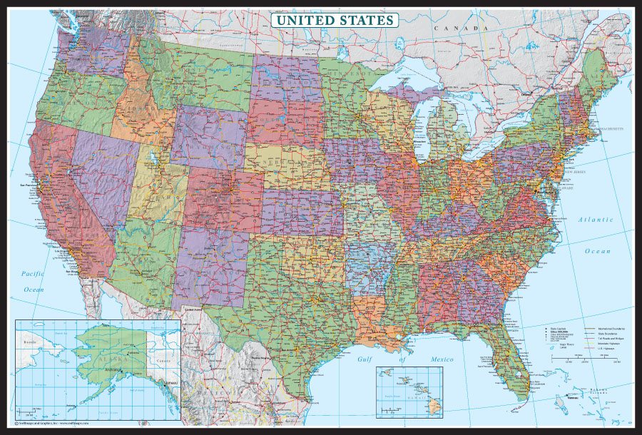 Poster Of Usa Map.Swiftmaps United States Decorator Wall Map Poster