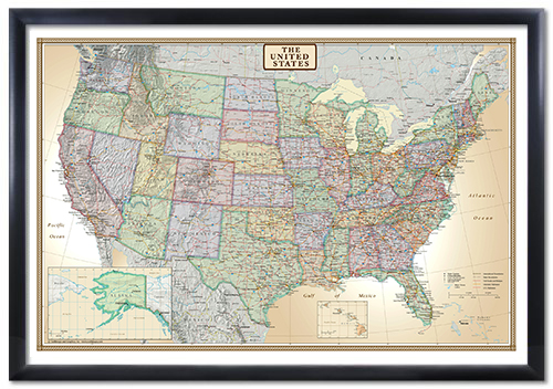 Swiftmaps United States Executive Modern Day Antique Wall Map