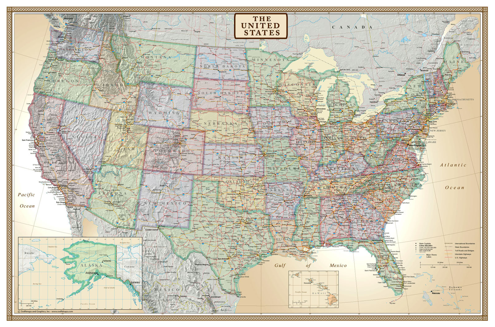 Modern Us Map.Swiftmaps United States Executive Modern Day Antique Wall Map