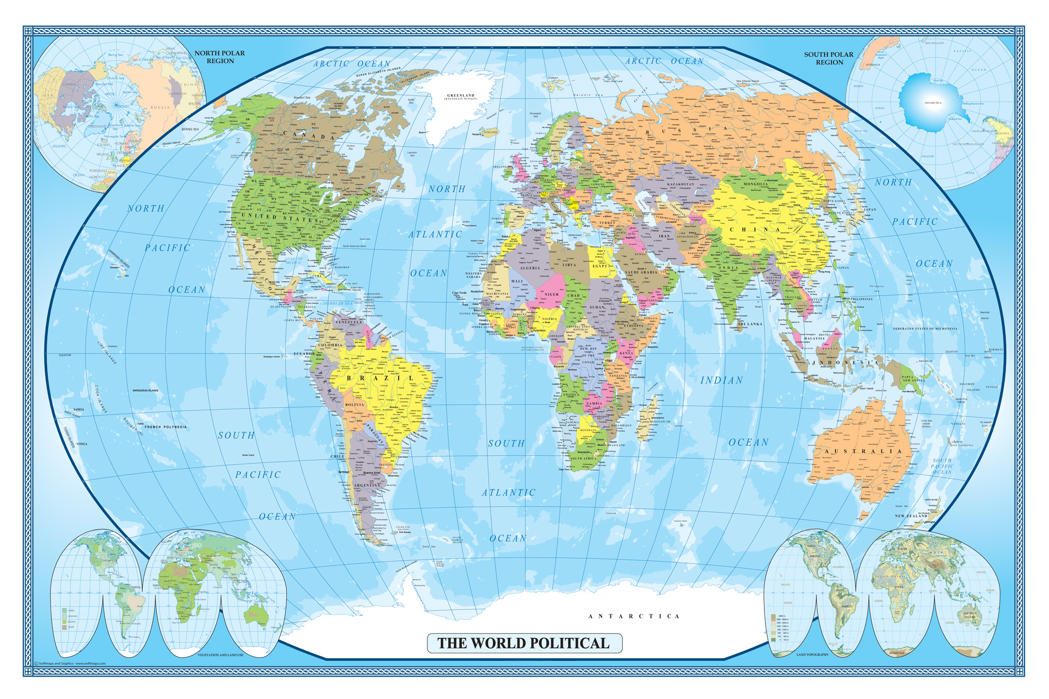 Swiftmaps World Classic Executive Wall Map Mural Poster X - Current world map
