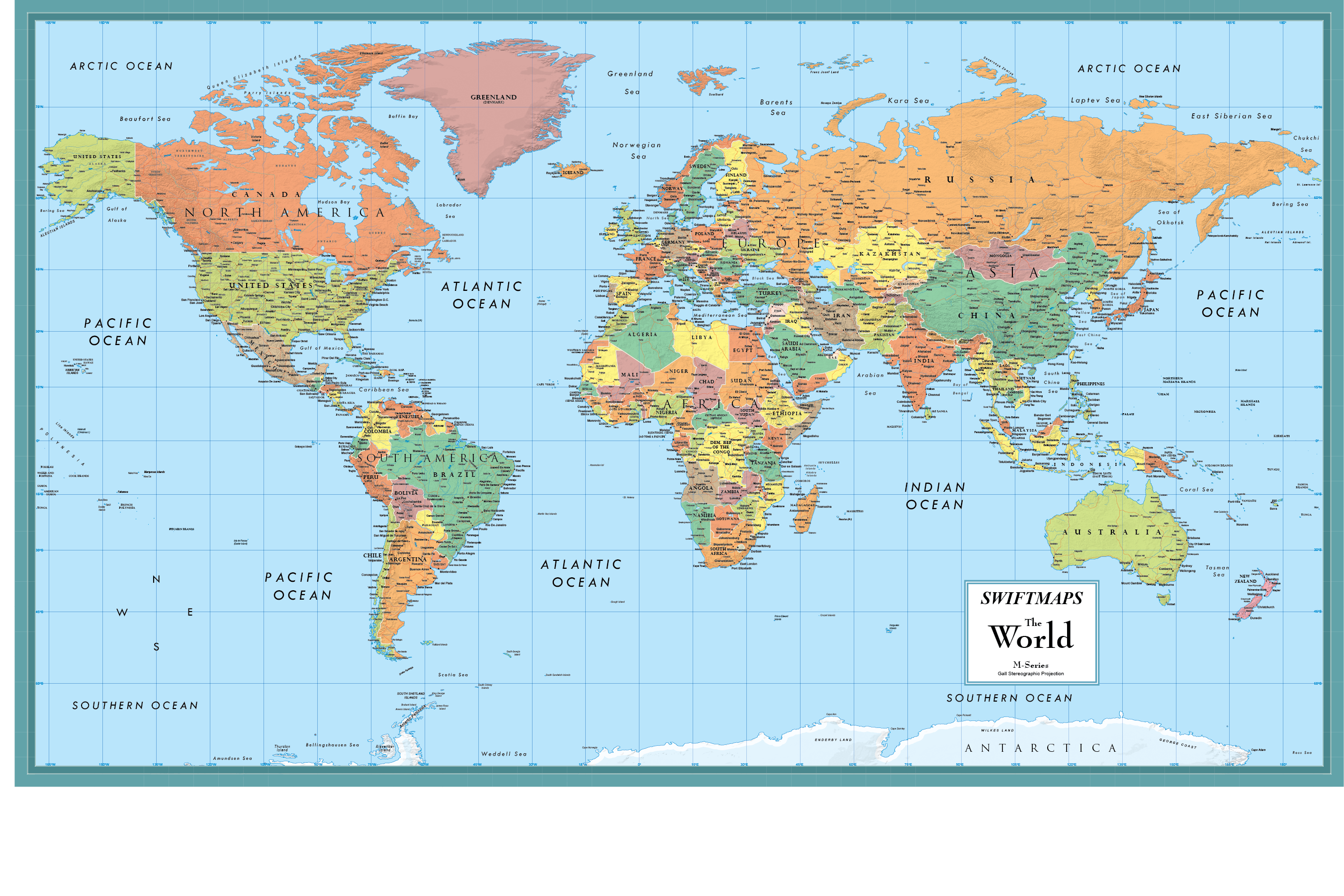 Rand McNally Deluxe Signature World Map Wall Poster on
