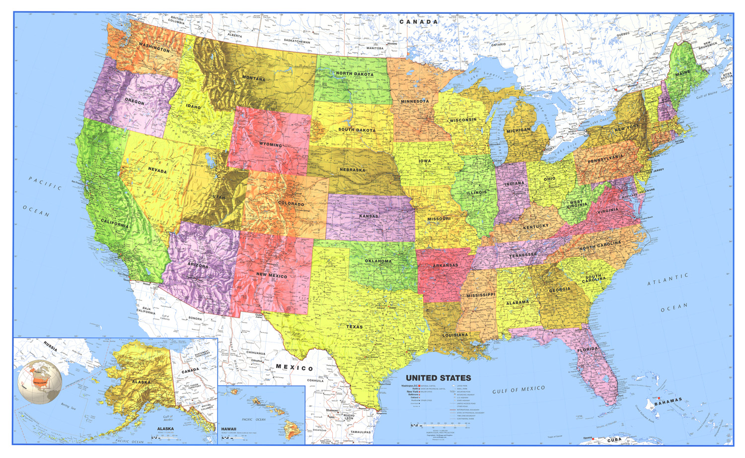 World  USA Classic Laminated Wall Map Poster Set - Us map poster 24x36