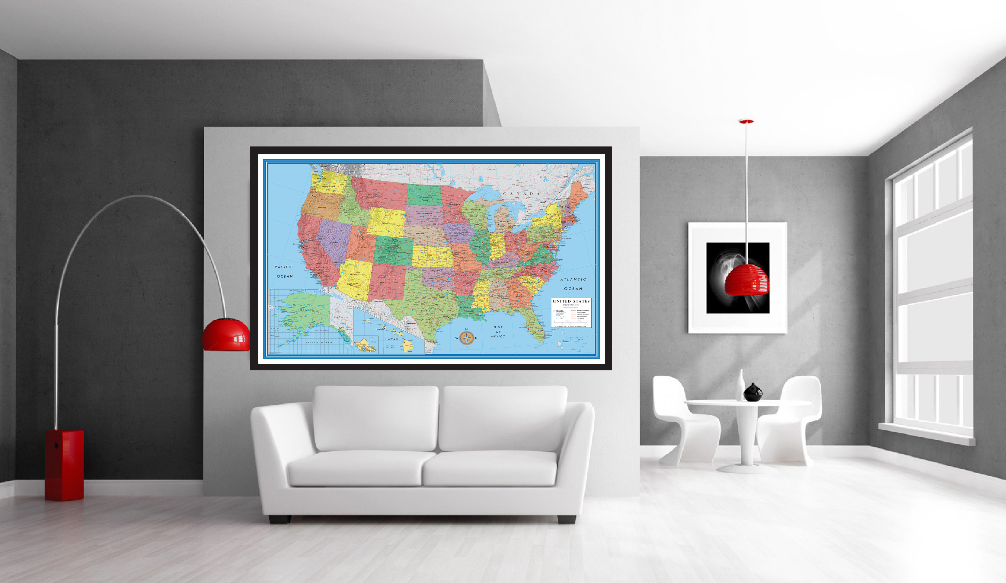 Classic Elite United States Wall Map Poster - Us map poster 24x36