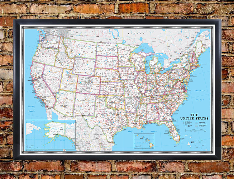 Swiftmaps United States Classic Executive Wall Map Mural