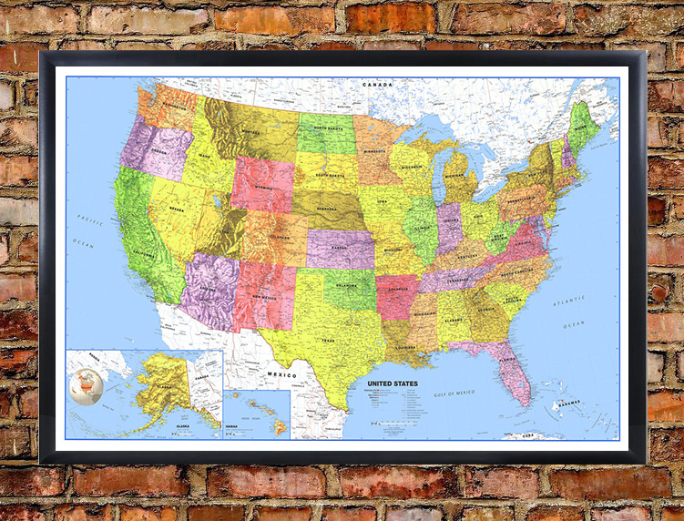Classic Premier United States Blue Oceans Wall Map - Large us road map poster