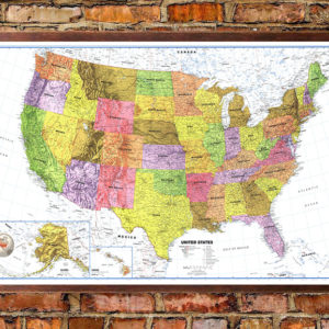 United States Classic Premier White Oceans Wall Map Poster