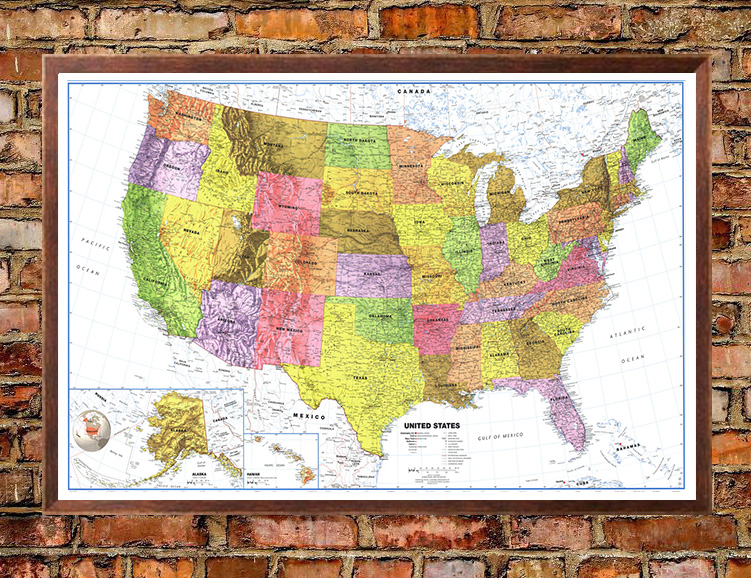 United States Classic Premier White Oceans Wall Map Poster - Usa map with oceans