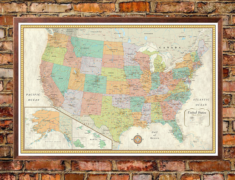 Contemporary Premier United States USA Large Wall Map SWIFTMAPScom - Usa large wall map