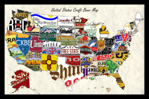 united states beer map United States Craft Beer Wall Map Art Poster of Breweries