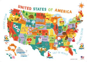Map Of All States In Usa.Children S United States Us Usa Wall Map For Kids 28 40