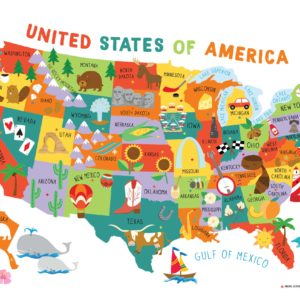 Map Of Us Kids Children's United States US USA Wall Map for Kids 28x40