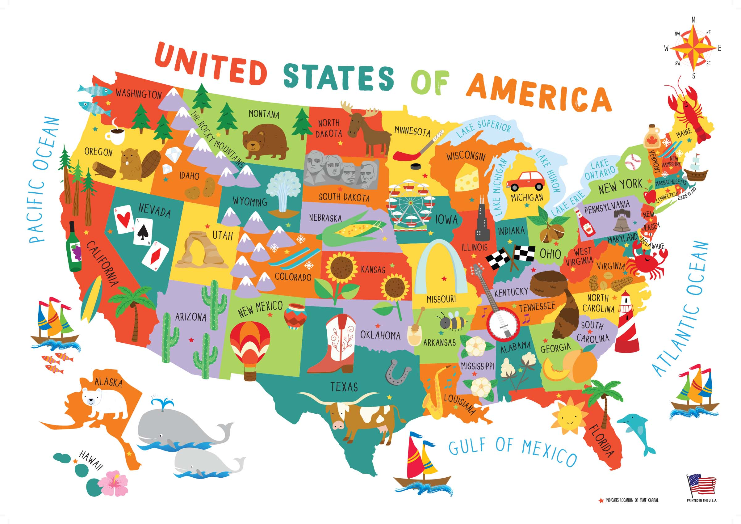 Children\'s United States US USA Wall Map for Kids 28x40