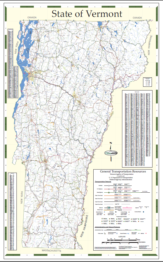 Vermont State Wall Map Executive Commercial Edition