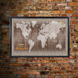 World Beer Cap Map on Brick Wall Enlarged