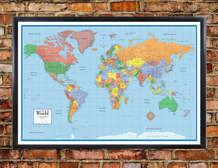 Classic elite framed world wall map poster mural for Classic world map wall mural