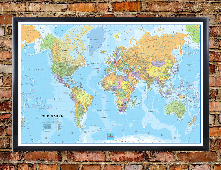 Swiftmaps world classic wall map poster world classic framed on wall gumiabroncs Choice Image