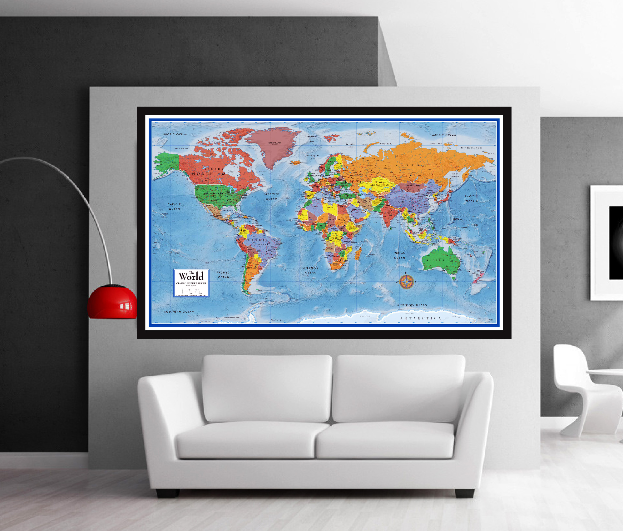 classic premier 3d world wall map poster mural. Black Bedroom Furniture Sets. Home Design Ideas