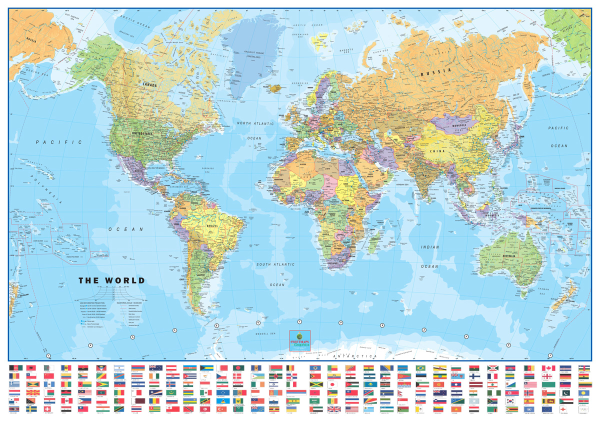 Map Of The World Flags.World Usa Classic Flags Laminated Wall Map Poster Set 2 Map Combo
