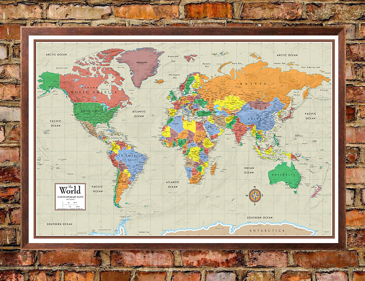 Contemporary elite world wall map poster mural gumiabroncs Images