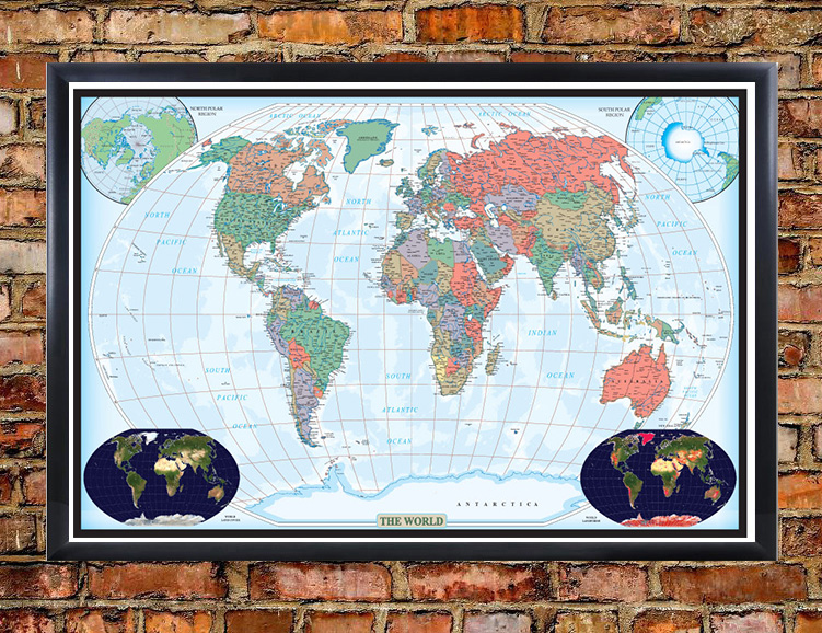 Swiftmaps world decorator large wall map poster large wall map poster world decorator framed on wall gumiabroncs Image collections