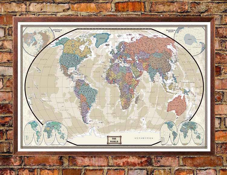 2436 swiftmaps earth toned world giclee canvas wall map swiftmaps world modern day antique wall map poster gumiabroncs Choice Image