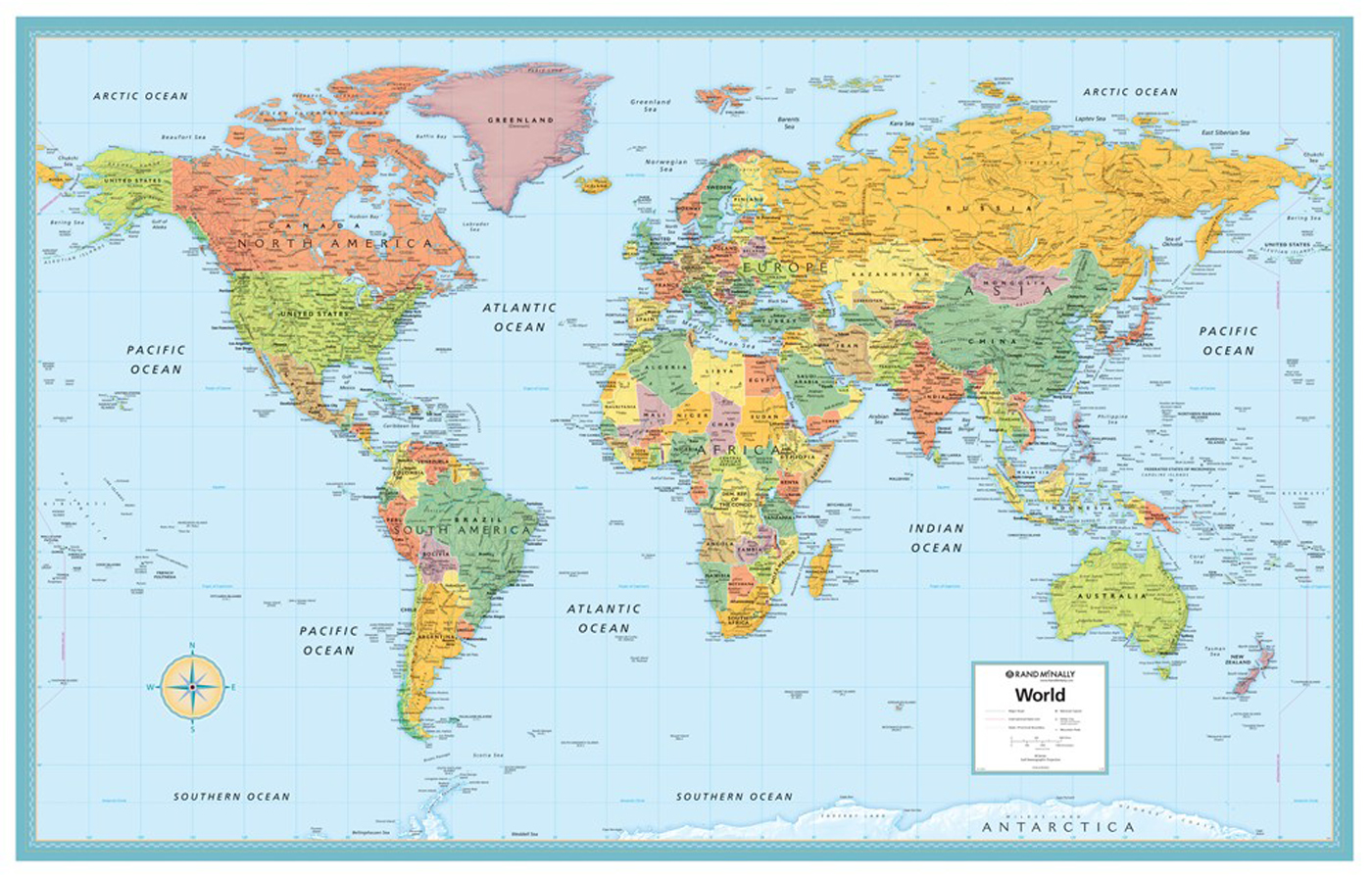 Rand McNally Deluxe Signature World Map Wall Poster - World map p