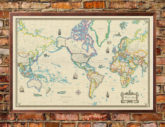 World Wall Map Modern Day Antique Art Poster