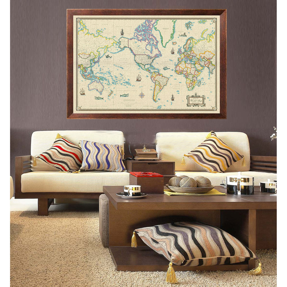 Modern day as antique giclee canvas wall map world modern day as antique on wall gumiabroncs Images