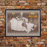 canada beer cap map brick wall background closeup