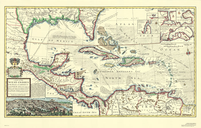 Caribbean west indies decorative antique wall map west indies decorative antique wall map antique replica of the caribbean via swiftmaps gumiabroncs Image collections