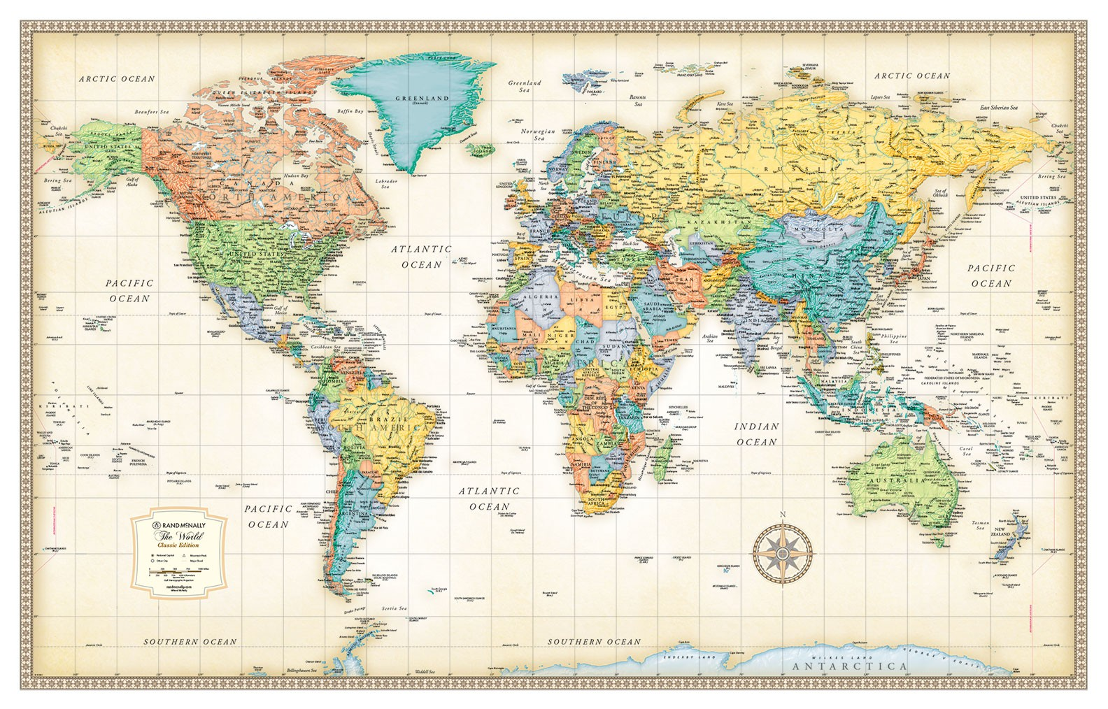 Rand McNally Classic Edition World Wall Map Poster - High quality world map poster