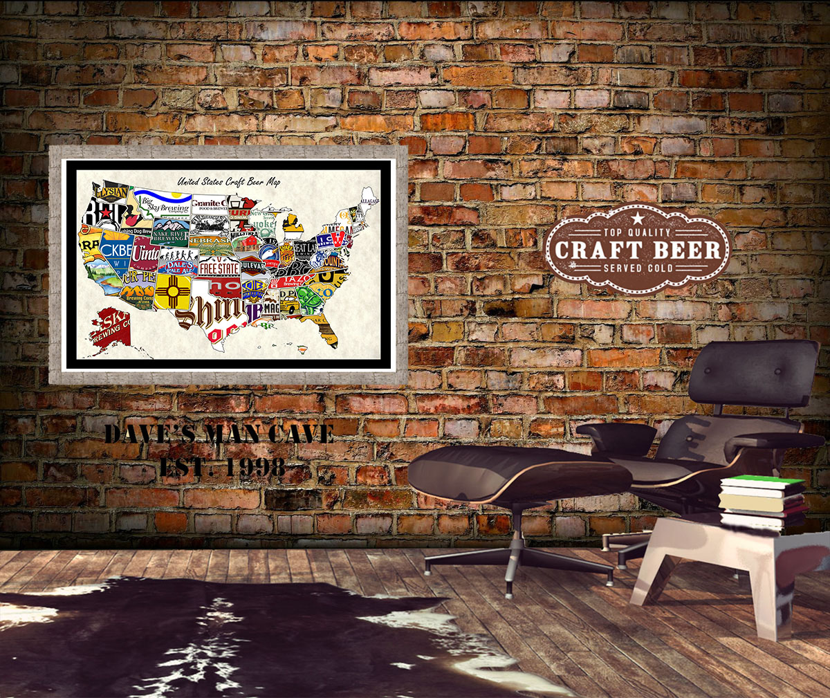 Man Cave Art Decor : United states craft beer wall map art poster of breweries
