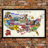 United States Craft Beer Wall Map Art Poster of Breweries