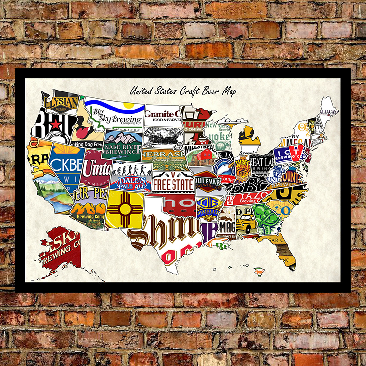 United States Wall Art united states craft beer wall map art poster of breweries