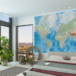 GeoPhysical Wall Mural 3D Edition World Map Wallpaper