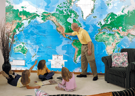 World Mural Wall Map Wallpaper Physical DMA Edition